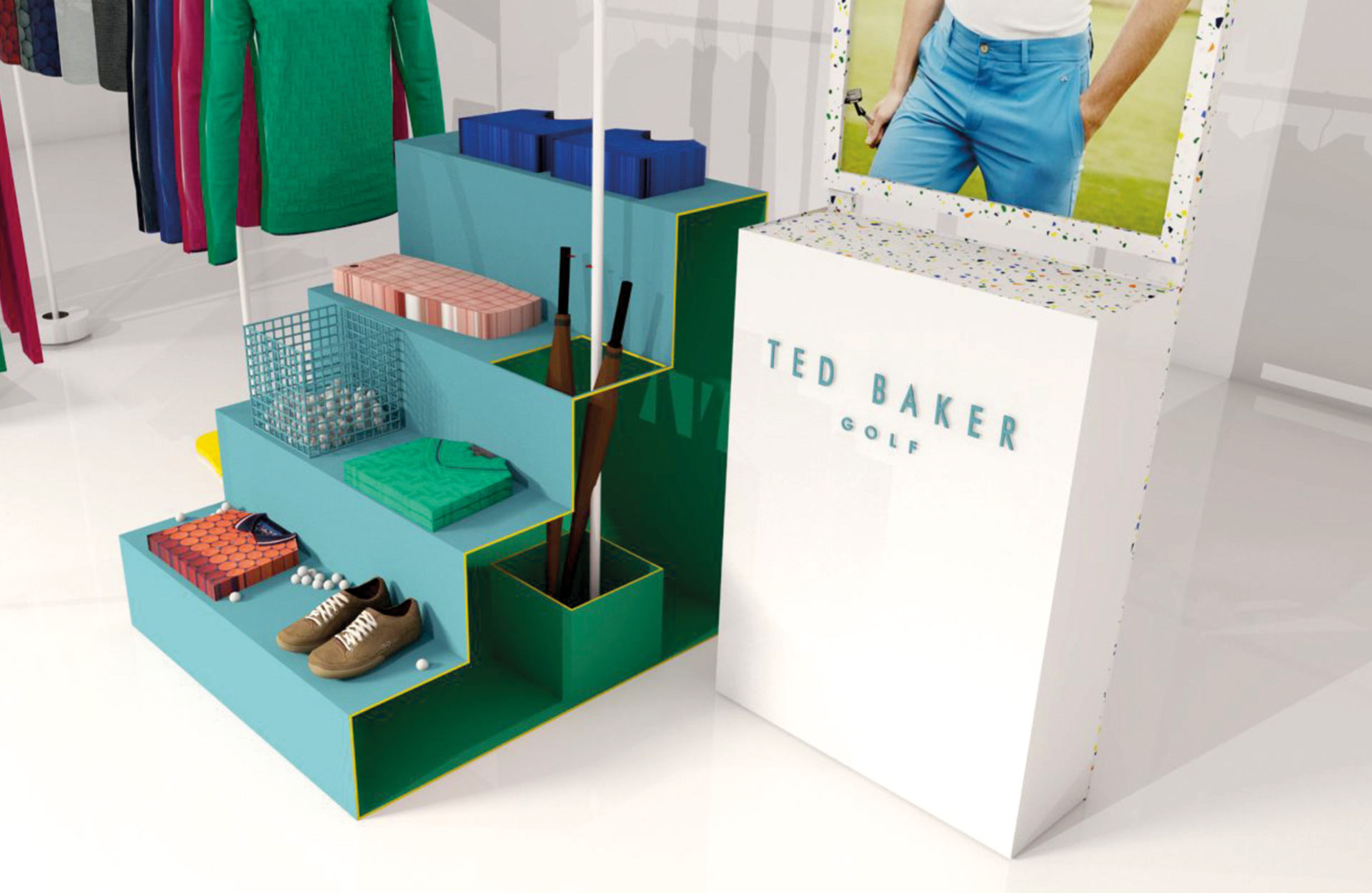 a6c035ffaaa788 Ted Baker Golf Pop Up - Harlequin Design